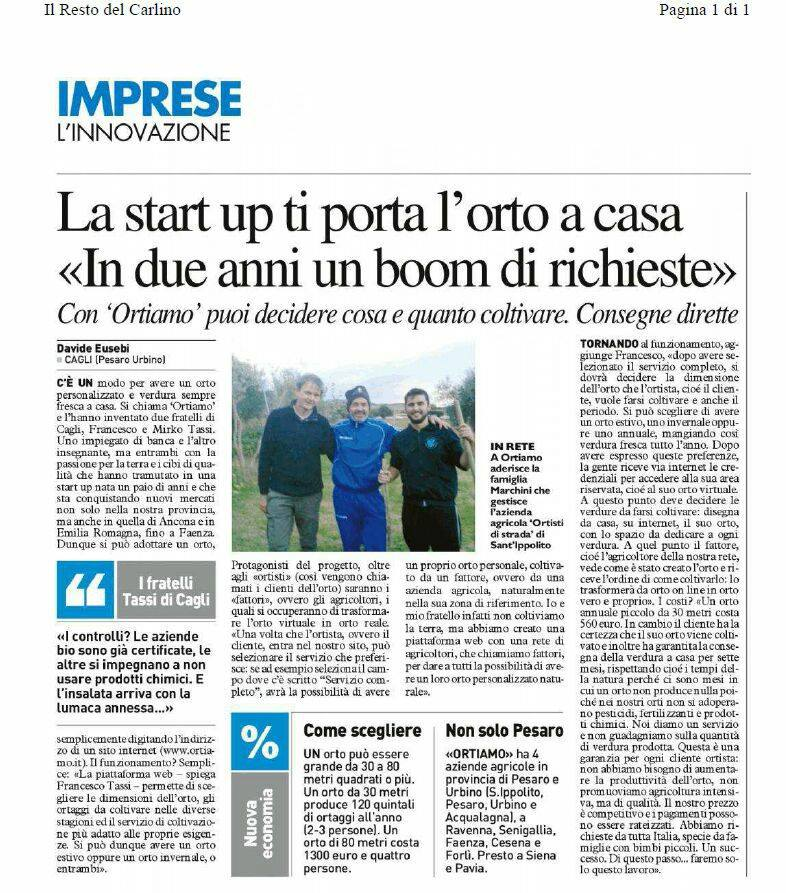 La start up ti porta l'orto a casa << in due anni un boom di richieste>>